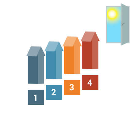 Template for Infografics Four Number Options, Arrows in the form of Ladder Upwards, Doorway, Sky, Sun.