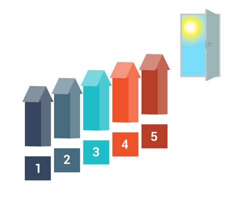 doorway: Template for Infografics Five Number Options, Arrows in the form of Ladder Upwards, Doorway, Sky, Sun. Stock Photo