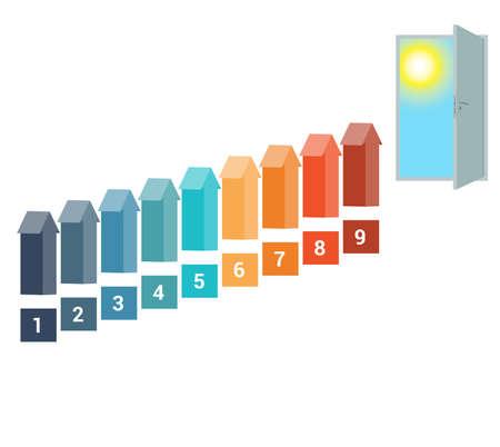 doorway: Template for Infografics Nine Number Options, Arrows in the form of Ladder Upwards, Doorway, Sky, Sun.