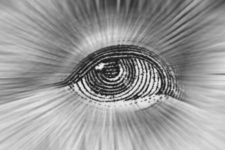 Element of the image of United States dollar,  Eye of president, Beams from eye every which way. Conceptual photo for successful business design. Macro. Black and white. Stock Photo