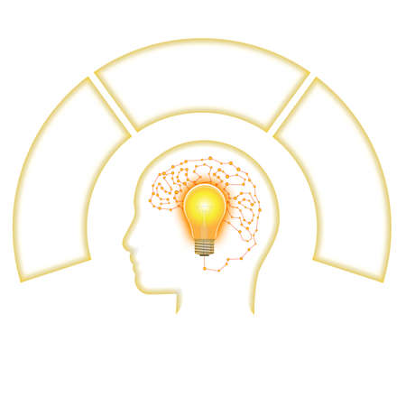 Template for Infographic, Head Lightbulb Brain from Line, three positions for text area.