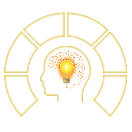 Template for Infographic, Head Lightbulb Brain from Line, six positions for text area.