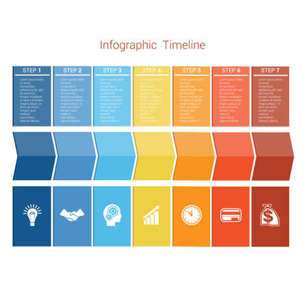 Template Timeline Infographic colored arrows numbered for seven position can be used for workflow, banner, diagram, web design, area chart Illustration