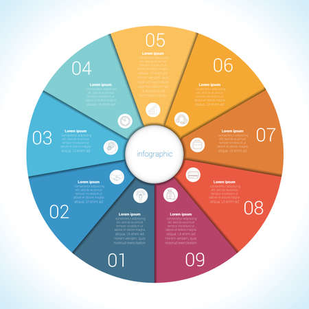 Elements For Template infographic nine position, steps, parts, with text area, colourful in the form of flower petals. Pie chart diagram data.