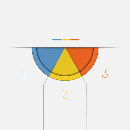 semicircle: Color Semicircle downwards template for Infographic numbered on 3 positions.
