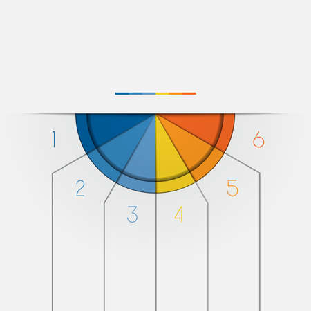 semicircle: Color Semicircle downwards template for Infographic numbered on 6 positions.