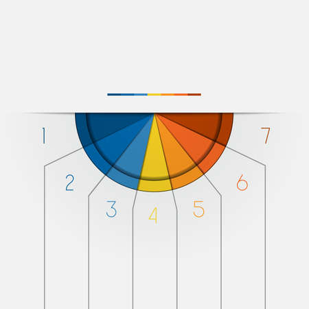 semicircle: Color Semicircle downwards template for Infographic numbered on 7 positions