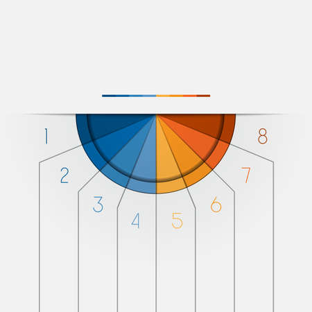semicircle: Color Semicircle downwards template for Infographic numbered on 8 positions