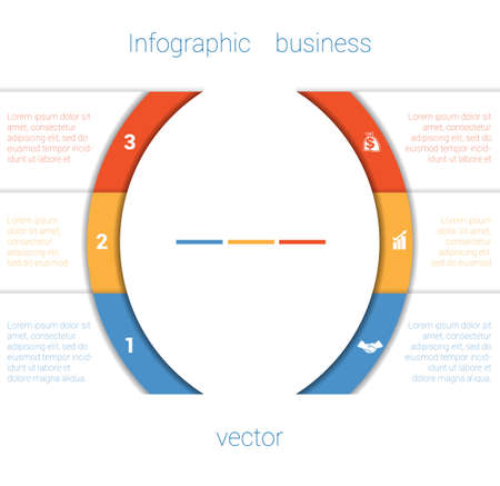 text area: Template Infographic Three Position.  Colorful Semicircles and White Strips for Text Area. Business Area Chart Diagram Data. Illustration