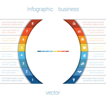 text area: Template Infographic Eight Position.  Colorful Semicircles and White Strips for Text Area. Business Area Chart Diagram Data.