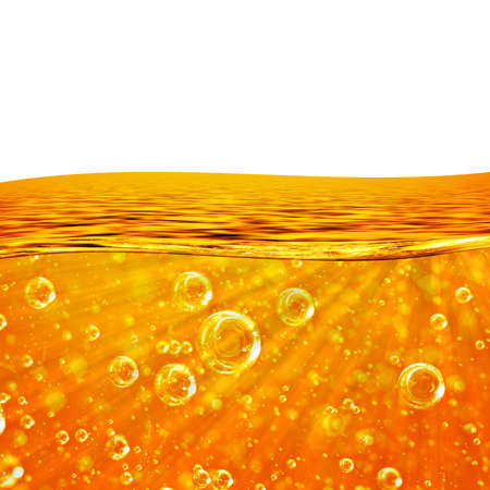 effervescence: Liquid flows orange Wave, Sea, close-up Air Bubbles, Beams for the project, oil, honey, beer, juice or other variants, area for text on white background Stock Photo