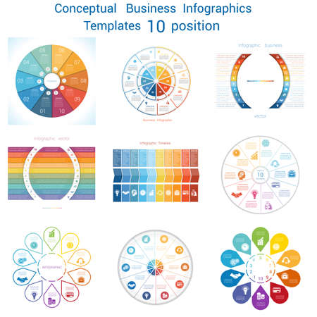 text area: Set templates Infographics business conceptual cyclic processes for ten positions text area, possible to use for pie chart, workflow, banner, diagram, web design, timeline, area chart Illustration
