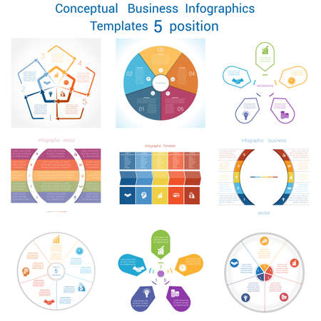 text area: Set templates Infographics business conceptual cyclic processes for five positions text area, possible to use for pie chart, workflow, diagram, web design, timeline, area chart Illustration