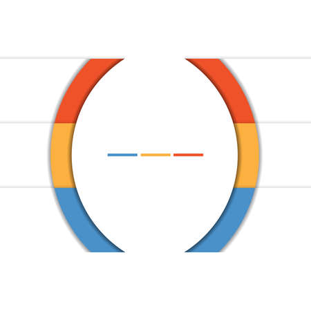 Template Infographic Colorful Semicircles and White Strips for 3 Text Areas. Stock Photo