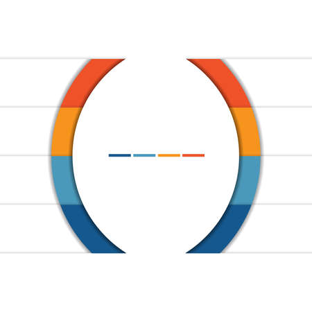 Template Infographic Colorful Semicircles and White Strips for 4 Text Areas.