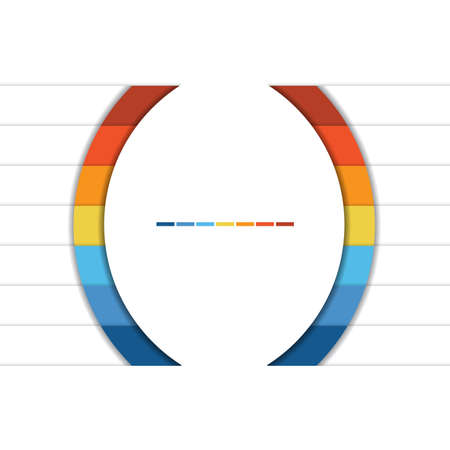 Template Infographic Colorful Semicircles and White Strips for 7 Text Areas.