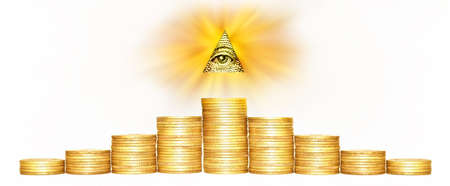 Element of image of United States one-dollar bill, pyramid, Eye of Providence, Beams from pyramid every which way, Golden coins on white background. Conceptual photo for successful business design. Macro
