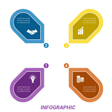 Colored Arrows arranged in circle, pointing inside the circle. Template for infographic numbered four positions Illustration