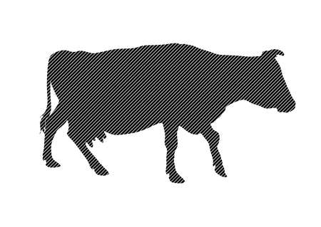 Black-and-white silhouette of going striped cow