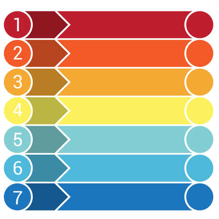Template Infographic, the numbered colourful horizontal strips, arrows, points, area for text seven positions. Stock Photo