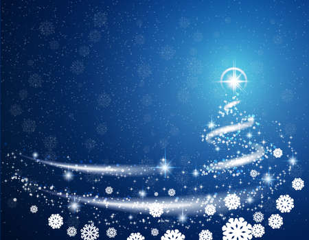Blue Christmas blizzard snowflakes stars  background Illustration
