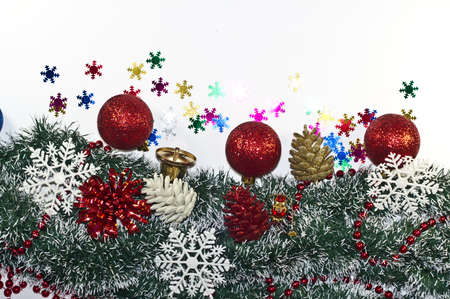 christmas decoration holiday decorations garland fir tree baubles snowflake stock photo