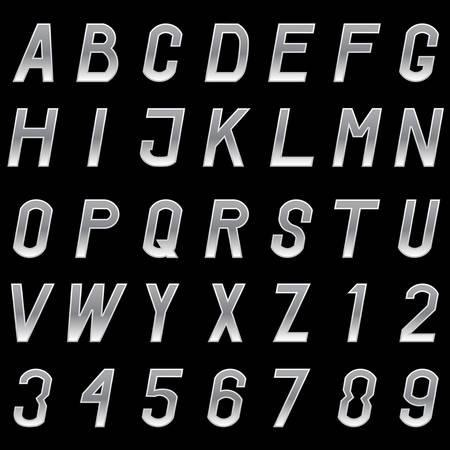 metal alphabet: Vector set of grey metal alphabet letters and numbers.