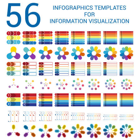 7 8: Infographics Templates for Informations Visualization, Elements,  Outline, Timelines, Pie Chart, Arrows, Area Chart, for  3, 4, 5, 6,7,8,9,10 Steps, Options, Positions, Parts, Processes.