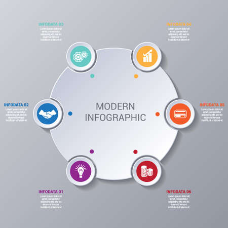 Modern Infographic numbered 6 options, business template for presentation and training