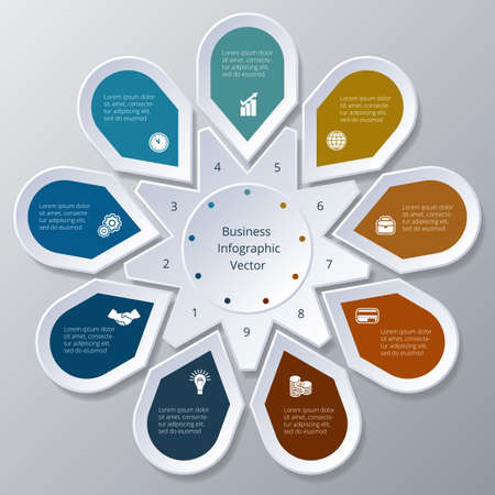 Business Infographic nine Points arranged in circle gear Stock Illustratie