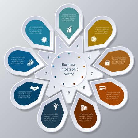 Business Infographic negen Punten in cirkeldiagram gerangschikt Stock Illustratie