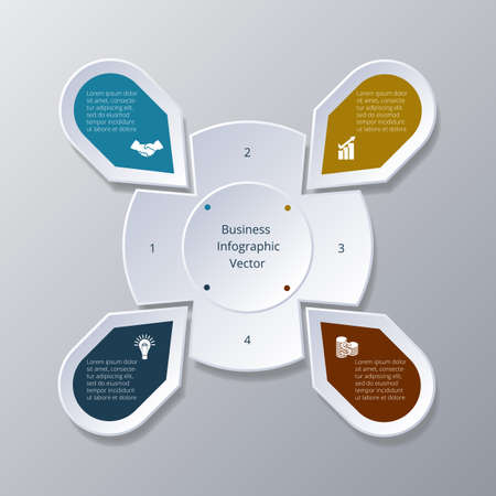 Business Infographic four Points arranged in circle gear