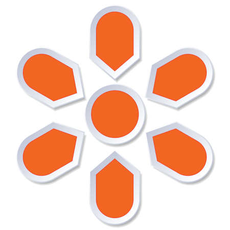 Chart cyclic process  Infographic orange Points arranged in circle for diagram with 6 steps on white background
