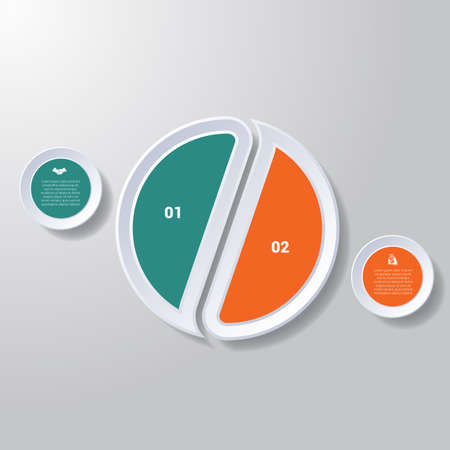 Pie chart or area chart diagram data Elements For Template infographics two position. Business strategy.