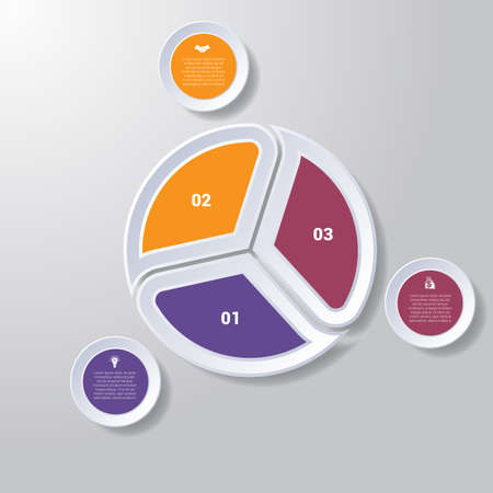 tactics: Pie chart or area chart diagram data Elements For Template infographics three position. Business strategy.