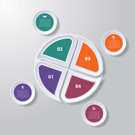 Pie chart or area chart diagram data Elements For Template infographics four position. Business strategy.