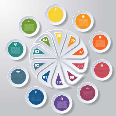 Pie chart or area chart diagram data Elements For Template infographics ten position. Business strategy.