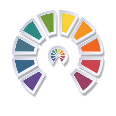 Template infographic, semicircle diagram with 10 multicolored elements around center