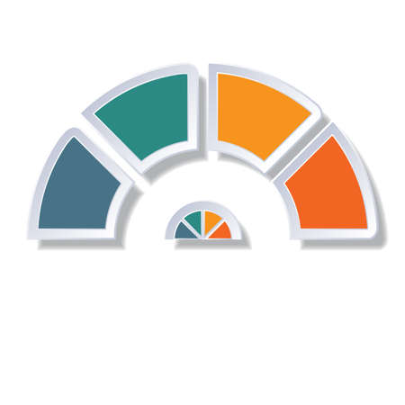 Template infographic, semicircle diagram with 4 multicolored elements around center Stock Photo