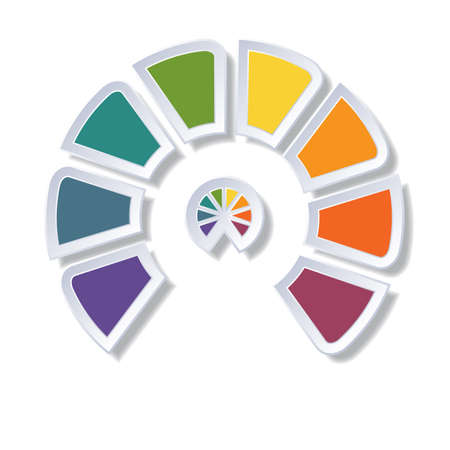Template infographic, semicircle diagram with 8 multicolored elements around center Stock Photo