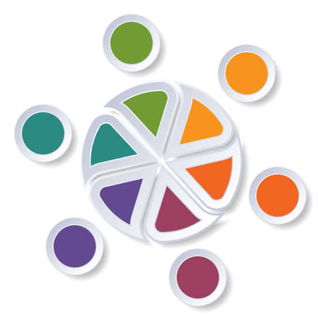 tactics: Template infographics Pie chart or area chart for 6 position. Stock Photo