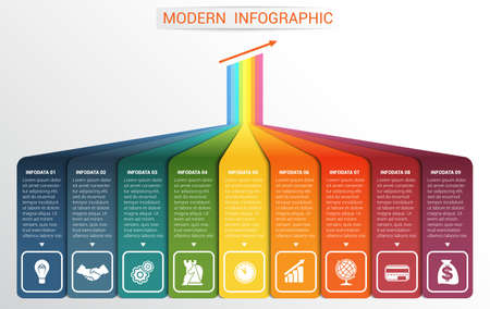 visualize: Vector template Infographic for 9 options. Vertical colour strips with prospect and a shade