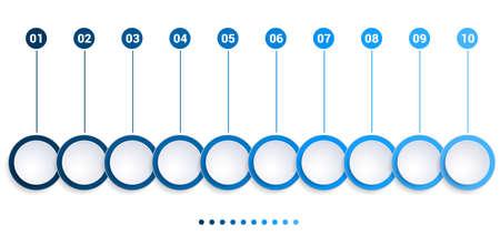 Monochrome Blue bubbles chart, Infographics template for 10 steps