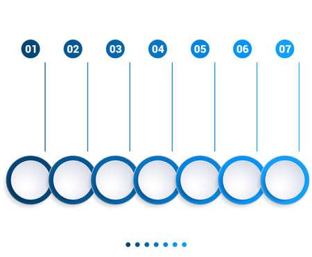 Monochrome Blue bubbles chart, Infographics template for 7 steps