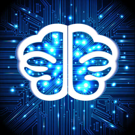 informatics: Brain, thoughts,circuit board background with glowing lines with dots, concept of thinking, visualization of human thinking. Illustration