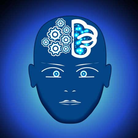 Head, Brain, Gears, visualization of process of thinking human.
