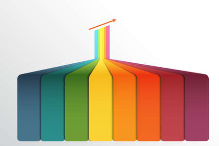 Vertical colour strips, with prospect and a shade. Template Infographic for 8 positions.
