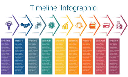 Set horizontal color arrows, template infographic for nine position, options, steps or processes. Business creative concept data visualization.