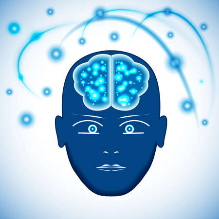 occurrence: Head, Brain with glowing with dots thoughts. Concept thinking human, visualization of occurrence of thoughts. Stock Photo