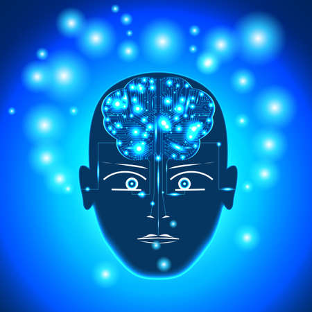 Head, circuit board in form of brain with glowing with dots thoughts. Concept thinking human, receiving of the information by the person through the sensory channels, of occurrence of thoughts.  Stock Photo